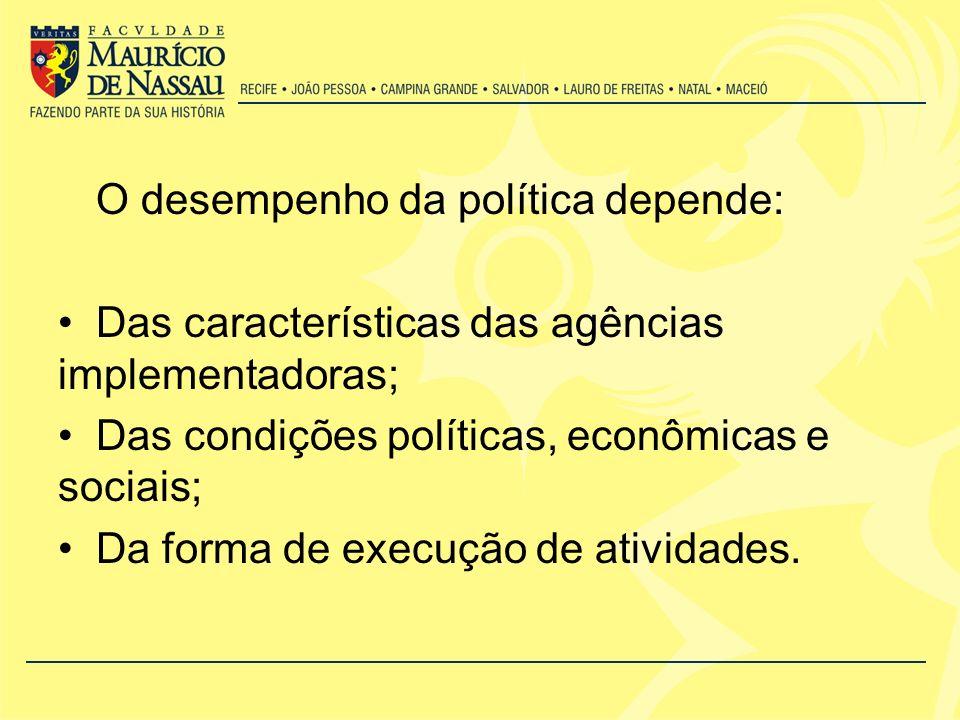 O desempenho da política depende: