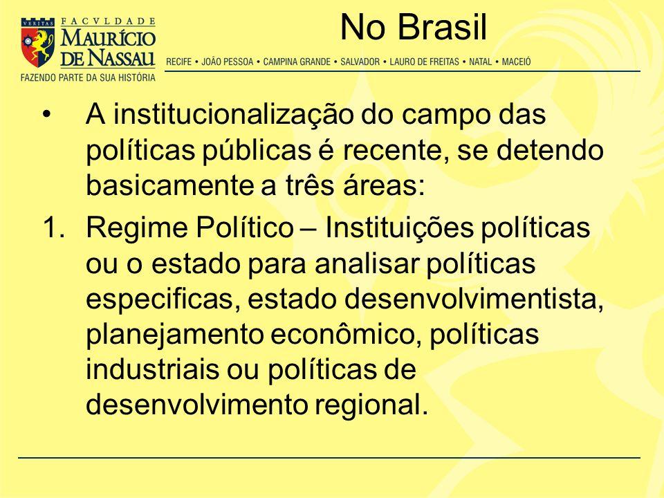 No Brasil A institucionalização do campo das políticas públicas é recente, se detendo basicamente a três áreas: