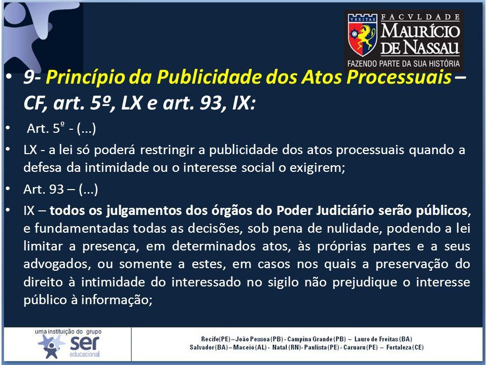 9- Princípio da Publicidade dos Atos Processuais – CF, art