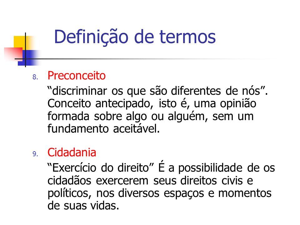 Definição de termos Preconceito