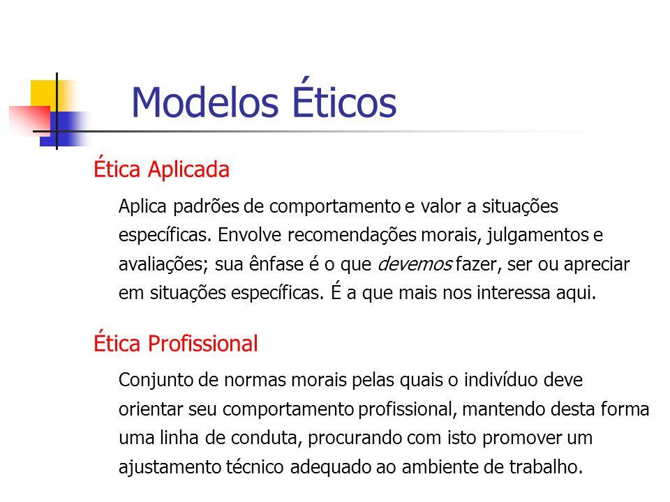 Modelos Éticos Ética Aplicada Ética Profissional