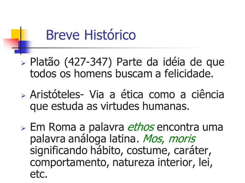 Breve Histórico Platão (427-347) Parte da idéia de que todos os homens buscam a felicidade.