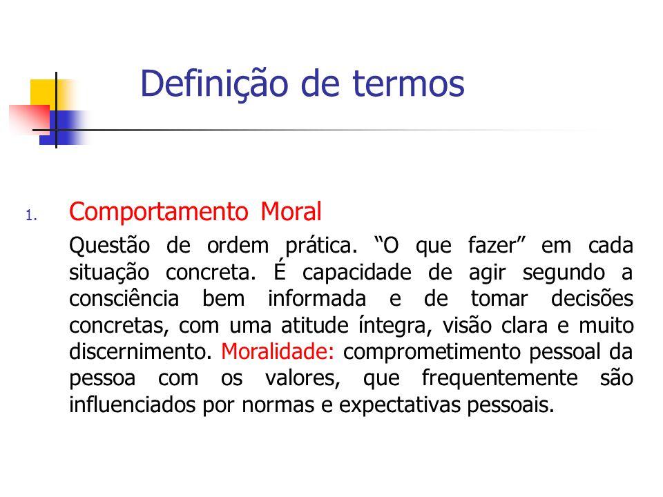 Definição de termos Comportamento Moral