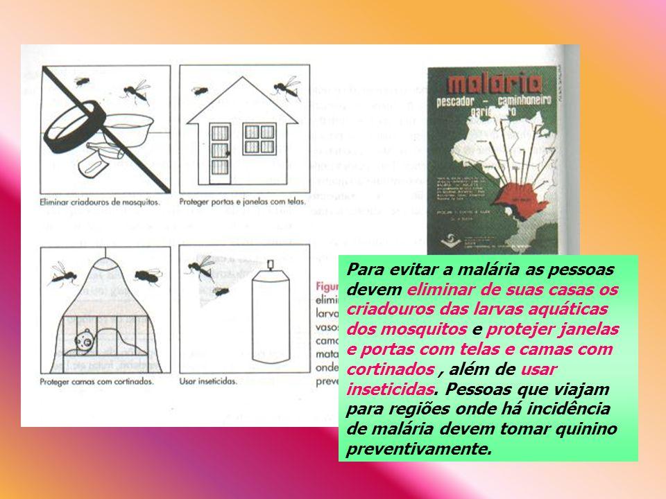 Para evitar a malária as pessoas devem eliminar de suas casas os criadouros das larvas aquáticas dos mosquitos e protejer janelas e portas com telas e camas com cortinados , além de usar inseticidas.