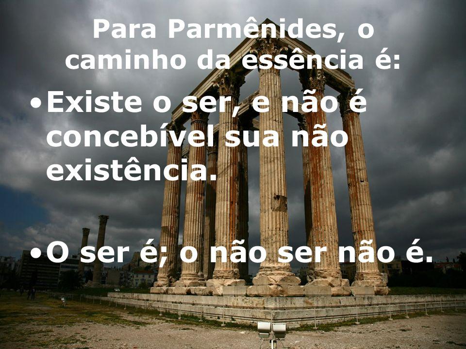 Para Parmênides, o caminho da essência é: