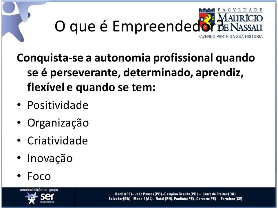O que é Empreendedor Conquista-se a autonomia profissional quando se é perseverante, determinado, aprendiz, flexível e quando se tem:
