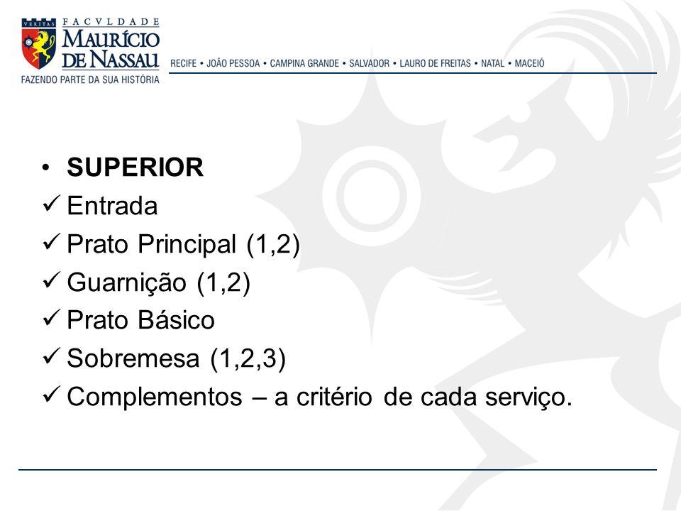 SUPERIOR Entrada. Prato Principal (1,2) Guarnição (1,2) Prato Básico.