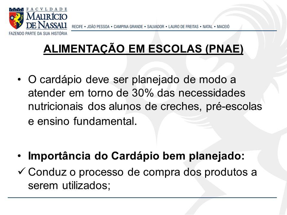 ALIMENTAÇÃO EM ESCOLAS (PNAE)