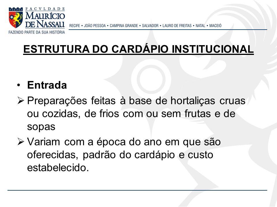 ESTRUTURA DO CARDÁPIO INSTITUCIONAL