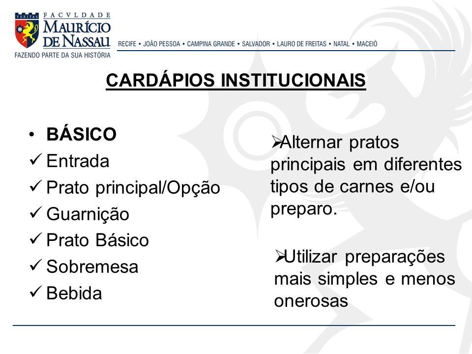 CARDÁPIOS INSTITUCIONAIS