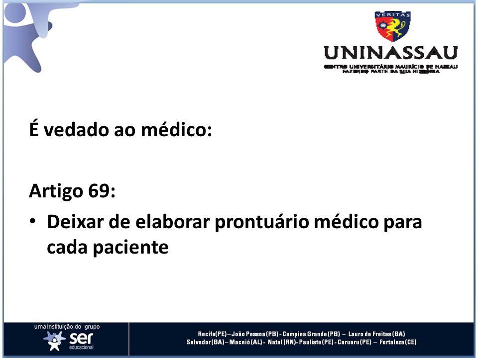 É vedado ao médico: Artigo 69: Deixar de elaborar prontuário médico para cada paciente