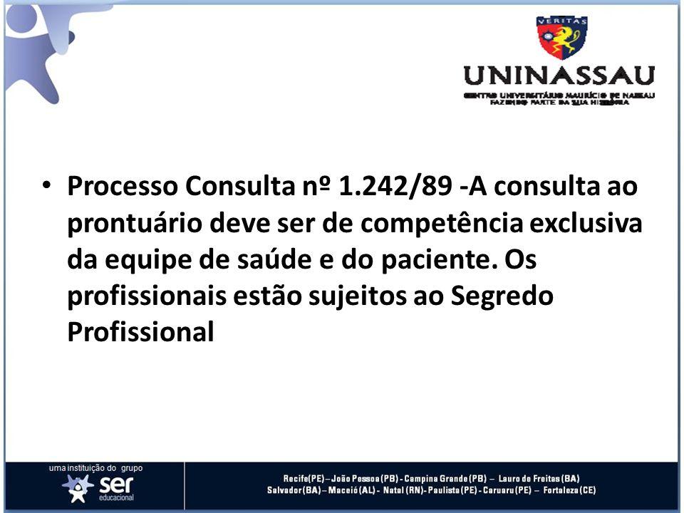 Processo Consulta nº 1.242/89 -A consulta ao prontuário deve ser de competência exclusiva da equipe de saúde e do paciente.