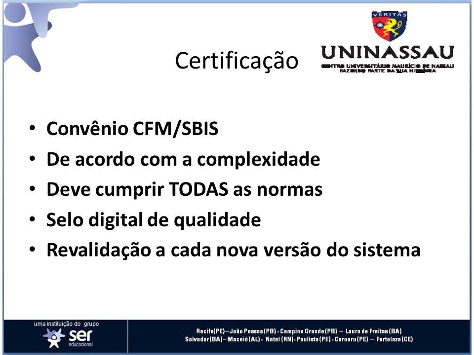 Certificação Convênio CFM/SBIS De acordo com a complexidade