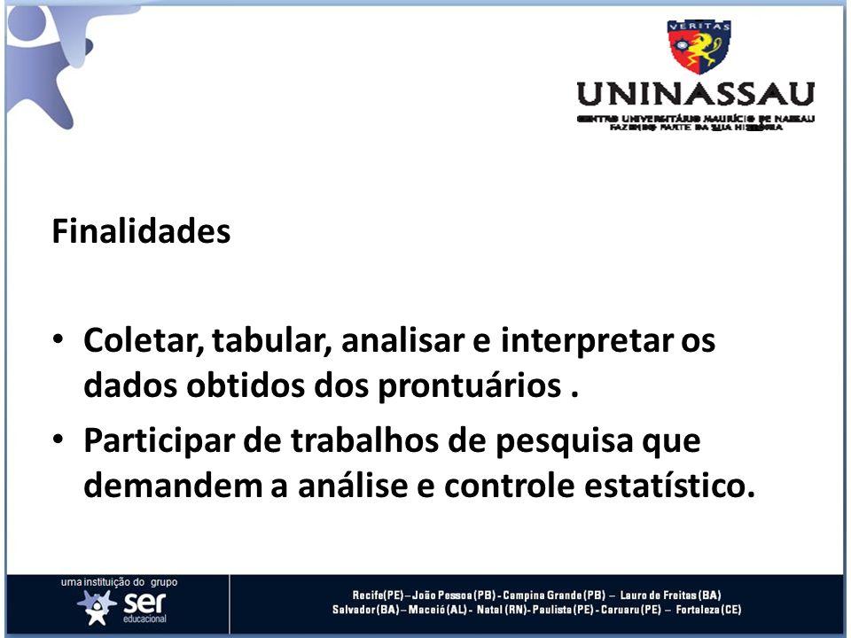 Finalidades Coletar, tabular, analisar e interpretar os dados obtidos dos prontuários .