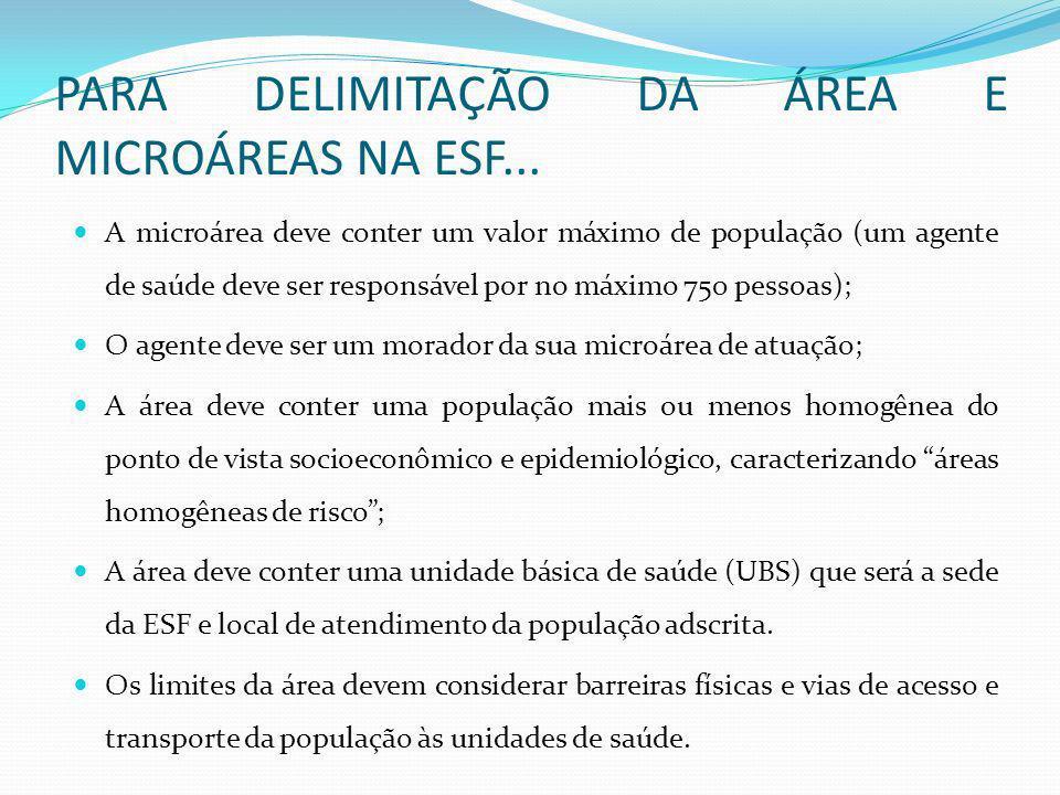 PARA DELIMITAÇÃO DA ÁREA E MICROÁREAS NA ESF...