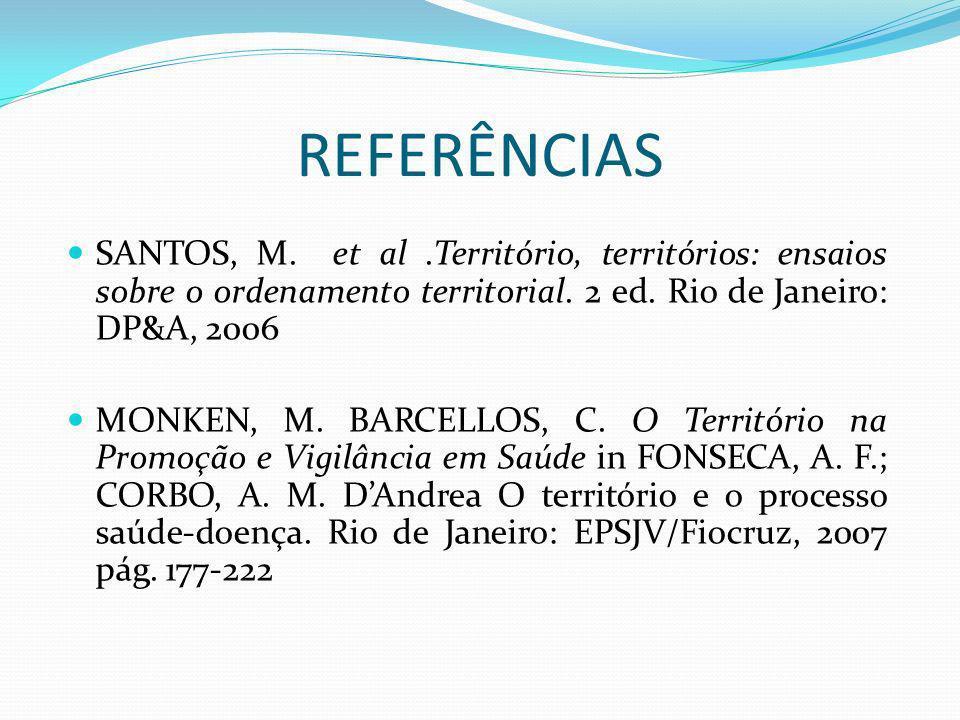 REFERÊNCIAS SANTOS, M. et al .Território, territórios: ensaios sobre o ordenamento territorial. 2 ed. Rio de Janeiro: DP&A, 2006.