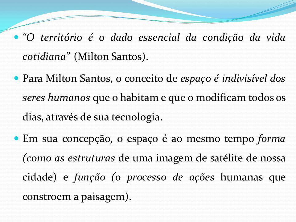 O território é o dado essencial da condição da vida cotidiana (Milton Santos).