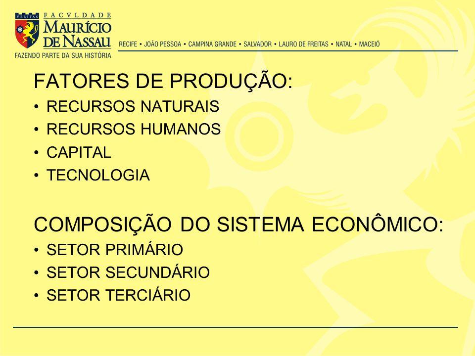 COMPOSIÇÃO DO SISTEMA ECONÔMICO: