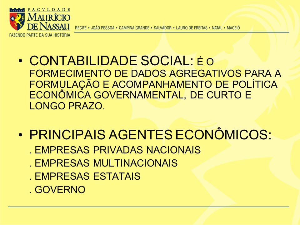 PRINCIPAIS AGENTES ECONÔMICOS: