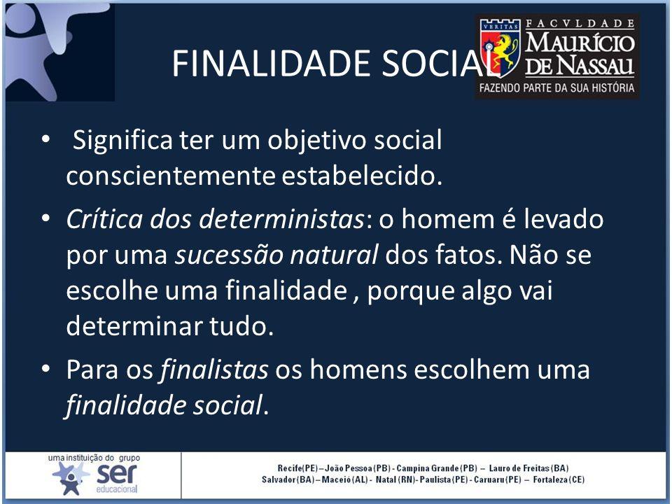 FINALIDADE SOCIAL Significa ter um objetivo social conscientemente estabelecido.