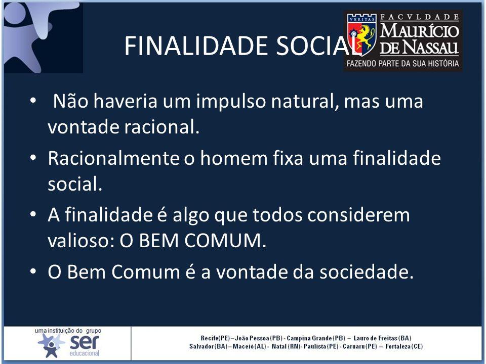 FINALIDADE SOCIAL Não haveria um impulso natural, mas uma vontade racional. Racionalmente o homem fixa uma finalidade social.