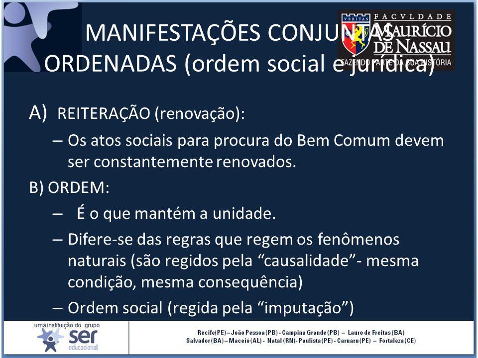 MANIFESTAÇÕES CONJUNTAS ORDENADAS (ordem social e jurídica)