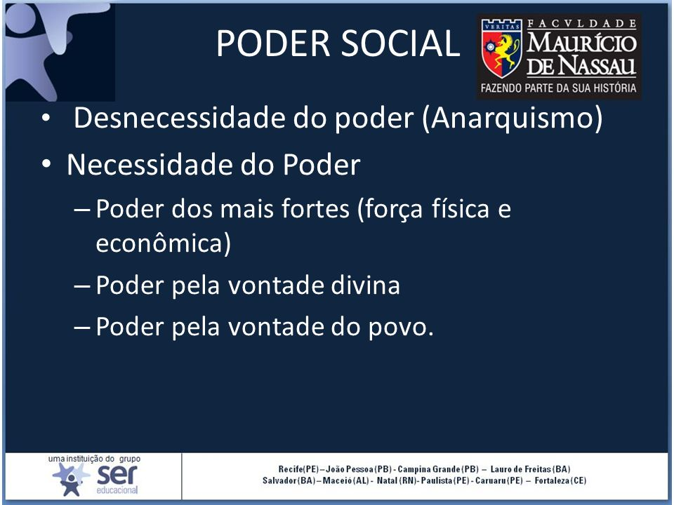 PODER SOCIAL Necessidade do Poder Desnecessidade do poder (Anarquismo)