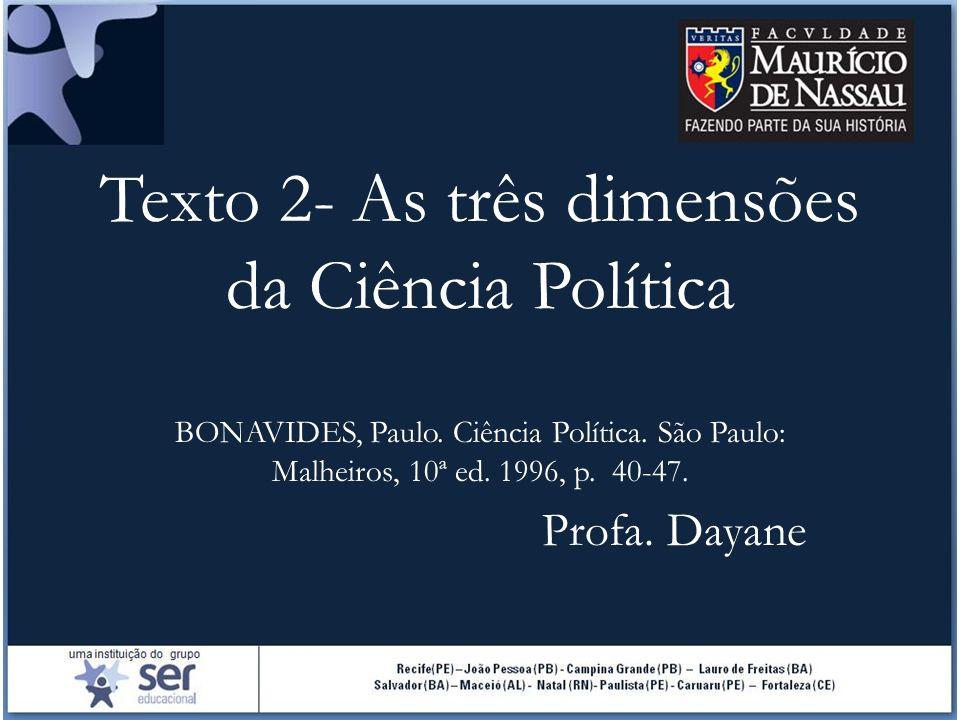 Texto 2- As três dimensões da Ciência Política