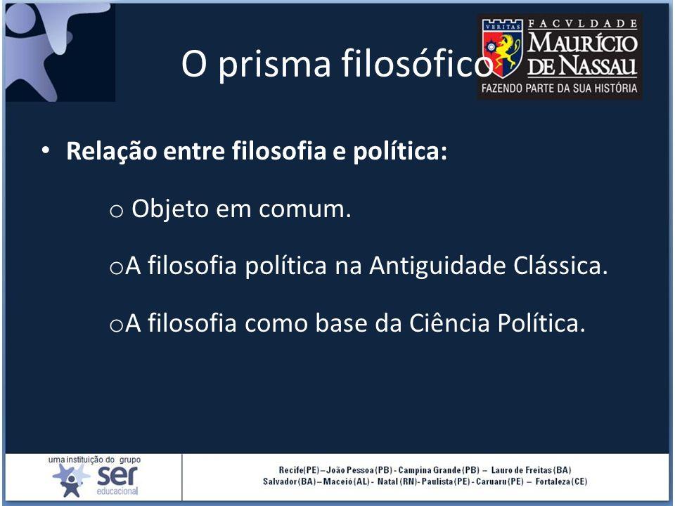 O prisma filosófico Relação entre filosofia e política: