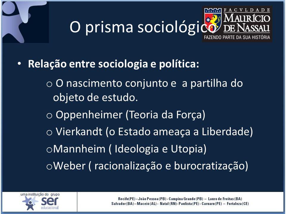 O prisma sociológico Relação entre sociologia e política: