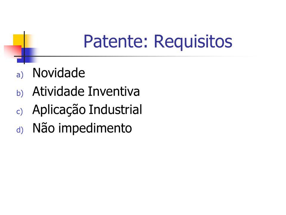 Patente: Requisitos Novidade Atividade Inventiva Aplicação Industrial
