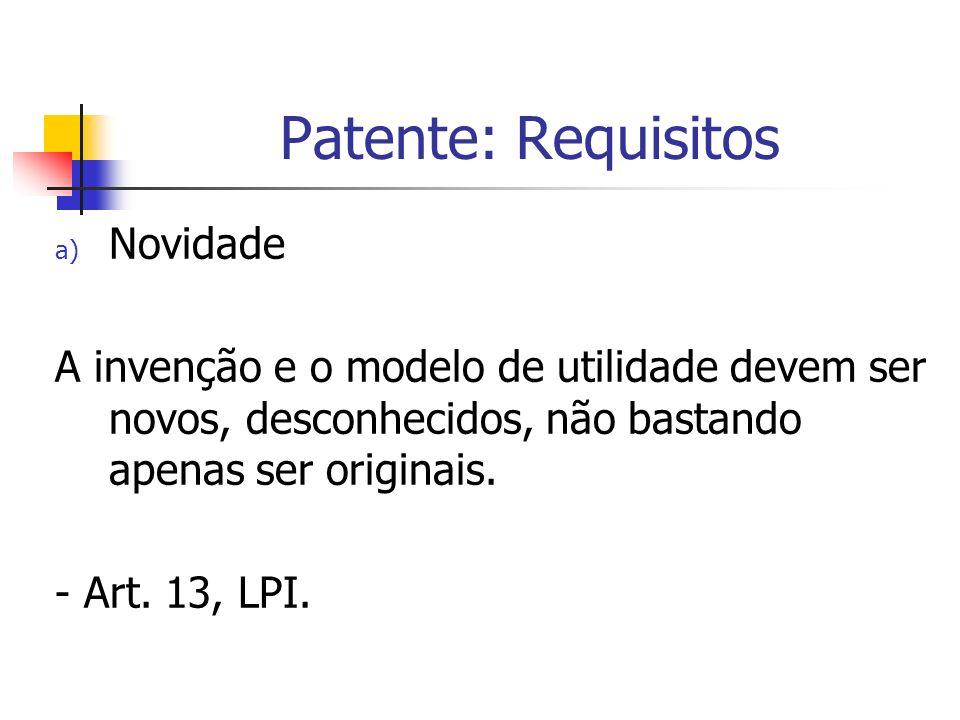 Patente: Requisitos Novidade