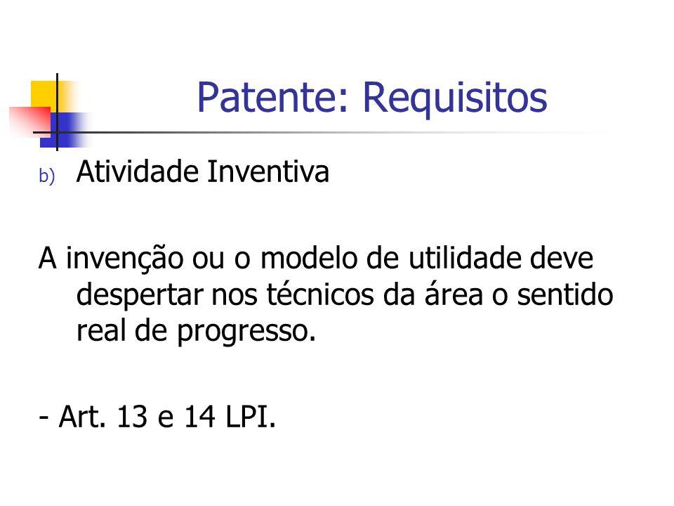 Patente: Requisitos Atividade Inventiva