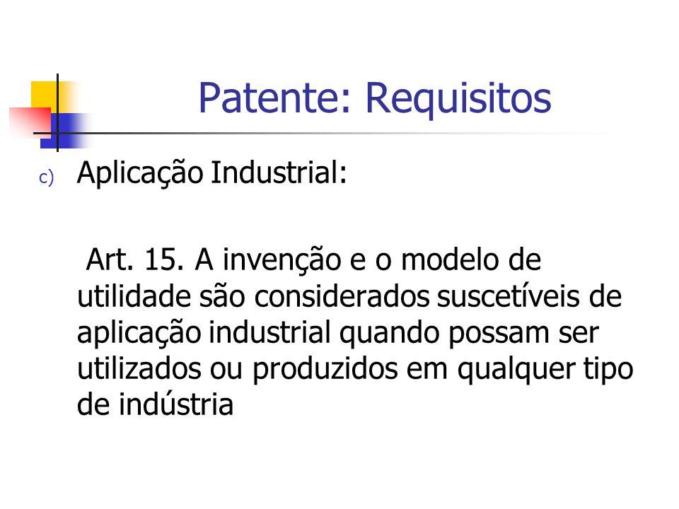 Patente: Requisitos Aplicação Industrial: