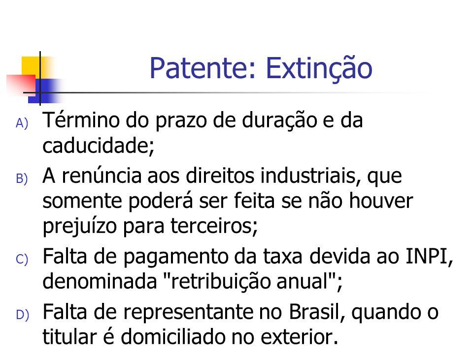 Patente: Extinção Término do prazo de duração e da caducidade;
