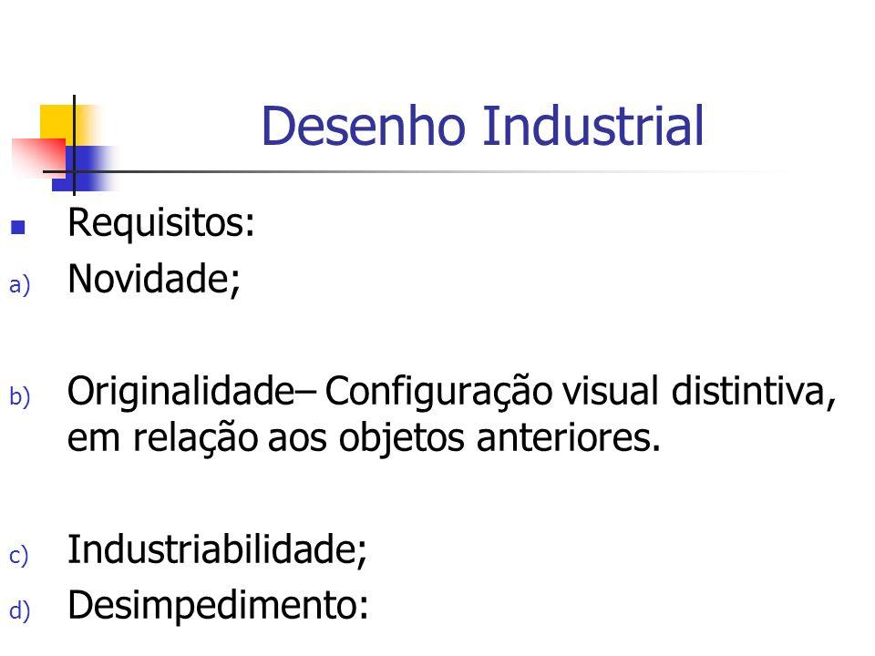 Desenho Industrial Requisitos: Novidade;