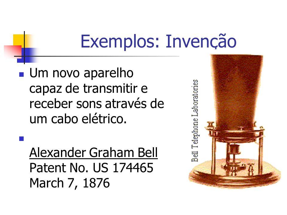 Exemplos: Invenção Um novo aparelho capaz de transmitir e receber sons através de um cabo elétrico.