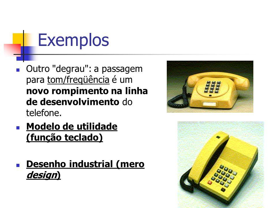 Exemplos Outro degrau : a passagem para tom/freqüência é um novo rompimento na linha de desenvolvimento do telefone.