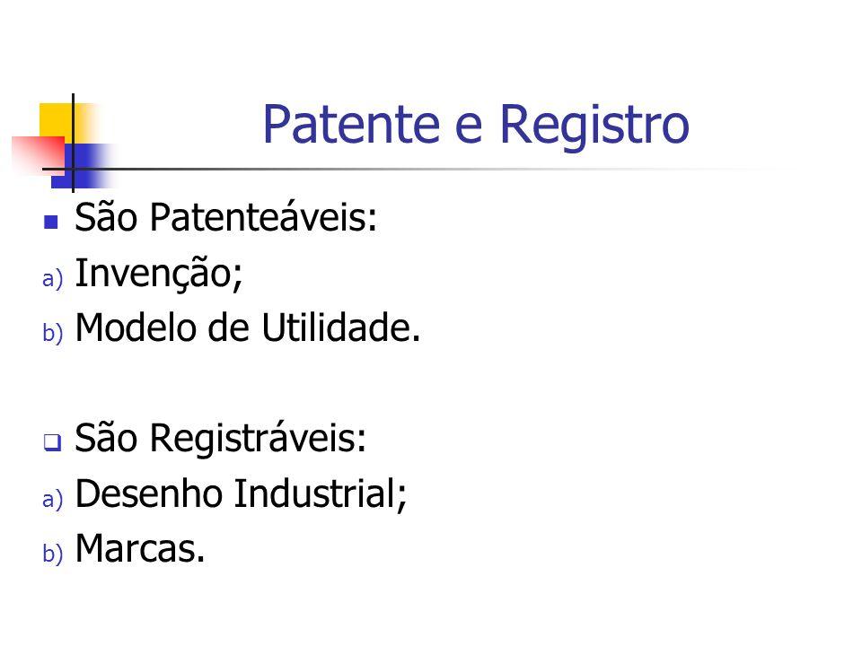 Patente e Registro São Patenteáveis: Invenção; Modelo de Utilidade.