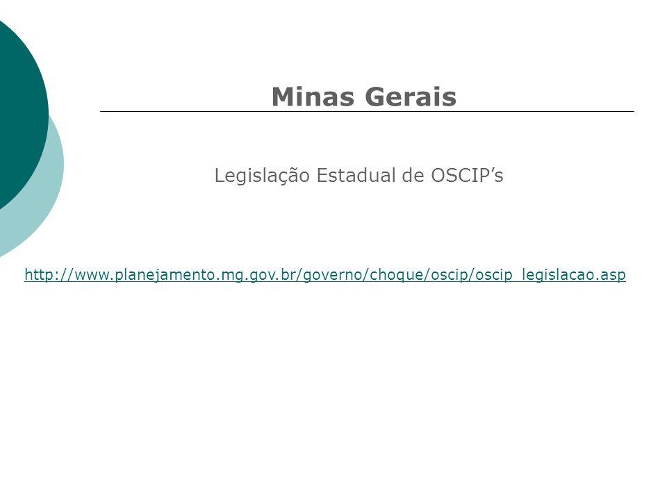 Minas Gerais Legislação Estadual de OSCIP's