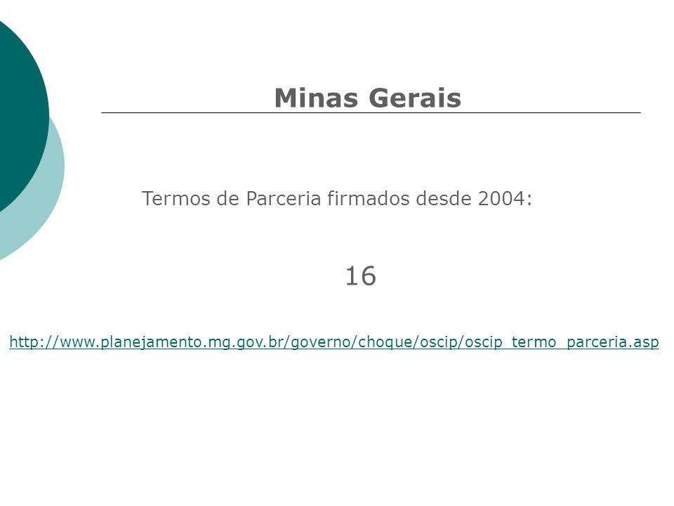 Minas Gerais 16 Termos de Parceria firmados desde 2004: