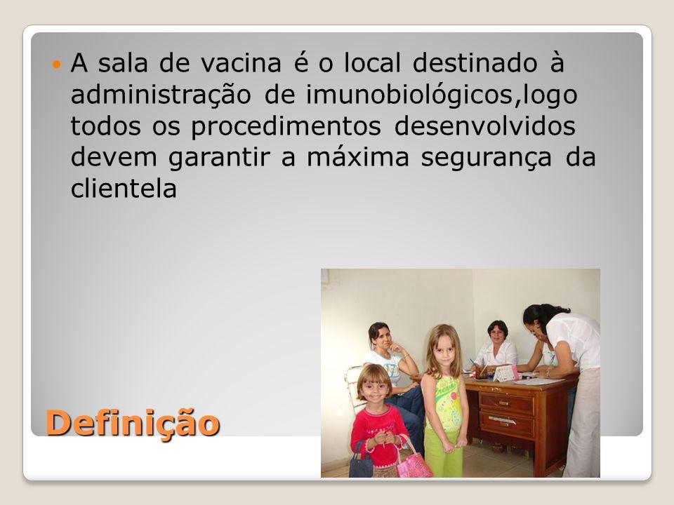 A sala de vacina é o local destinado à administração de imunobiológicos,logo todos os procedimentos desenvolvidos devem garantir a máxima segurança da clientela