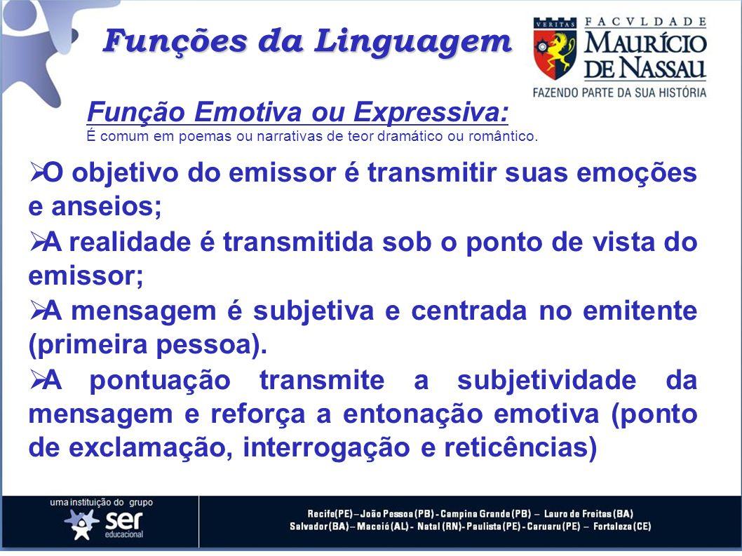 Funções da Linguagem Função Emotiva ou Expressiva: