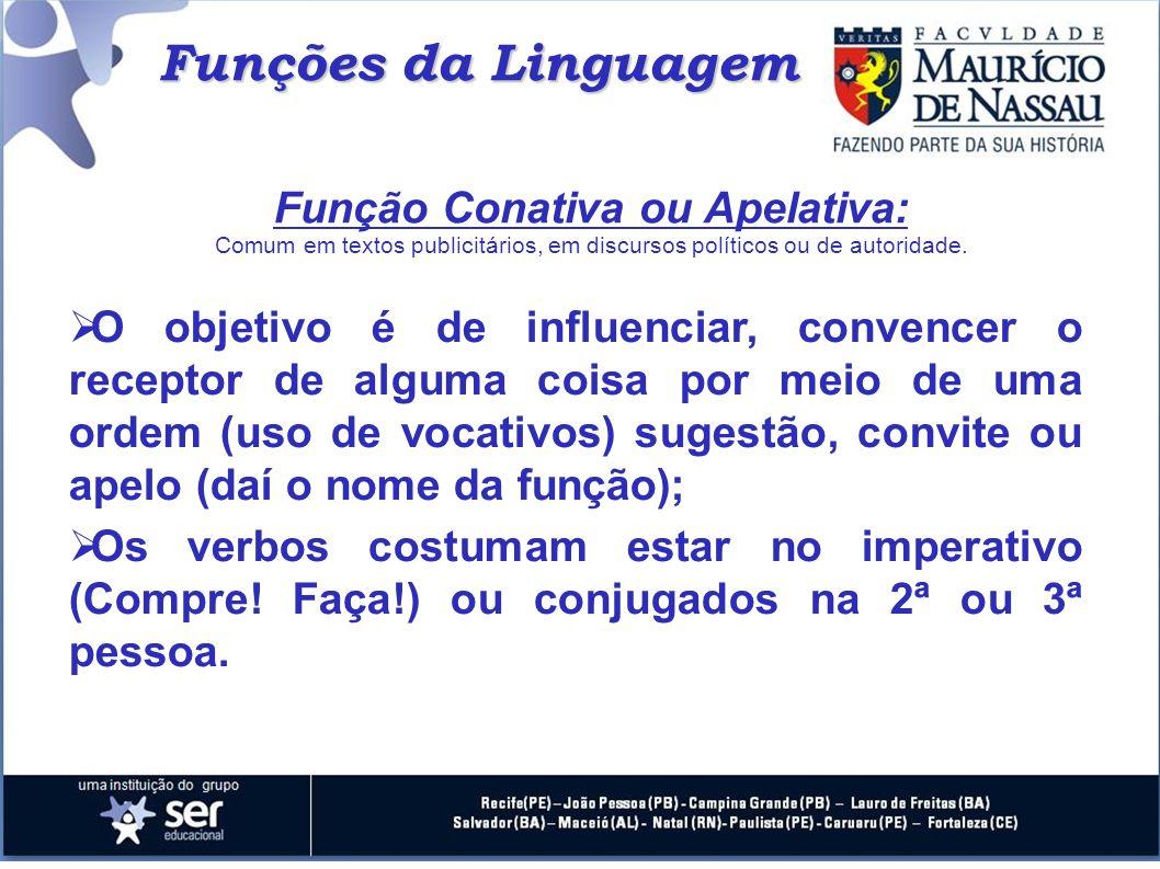 Função Conativa ou Apelativa: