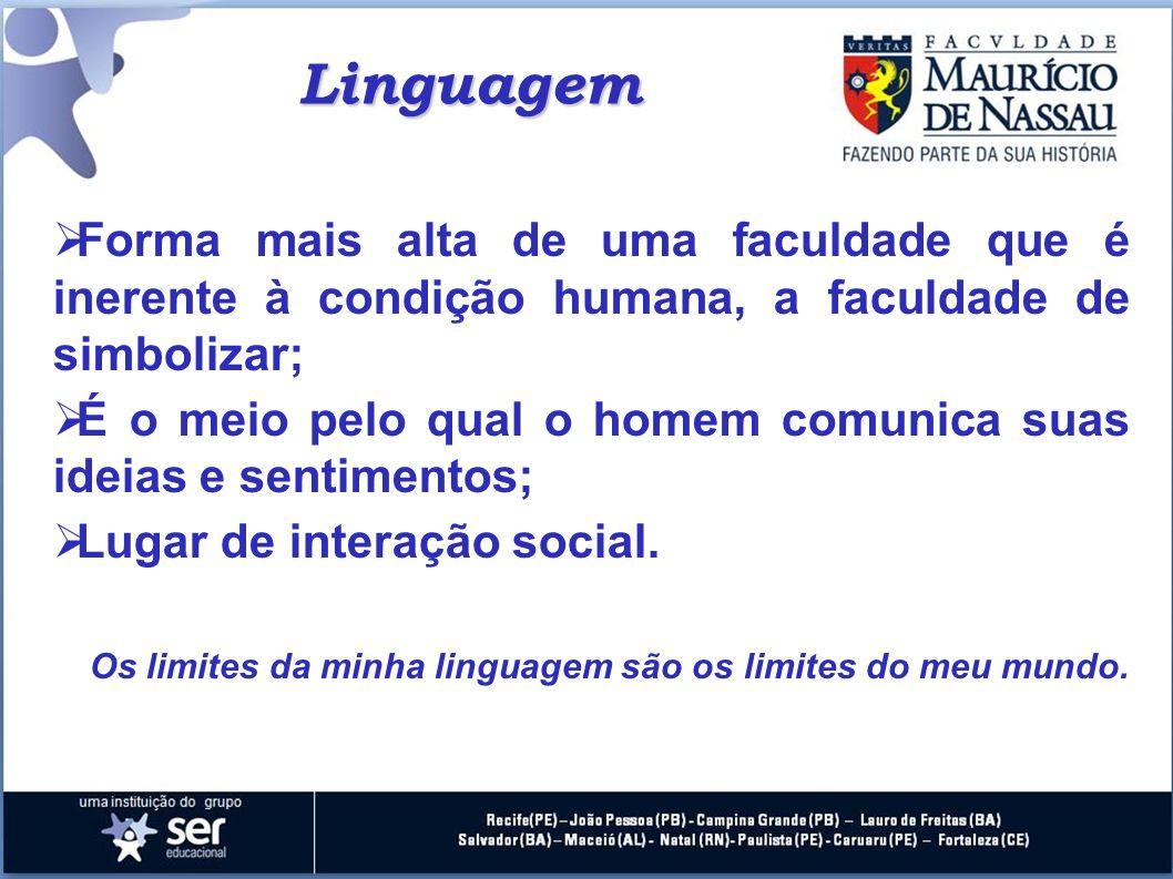 Linguagem Forma mais alta de uma faculdade que é inerente à condição humana, a faculdade de simbolizar;
