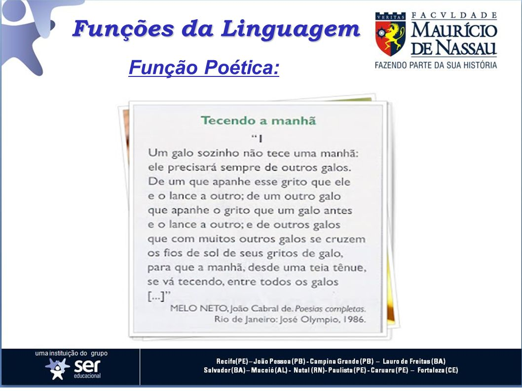 Funções da Linguagem Função Poética: 23