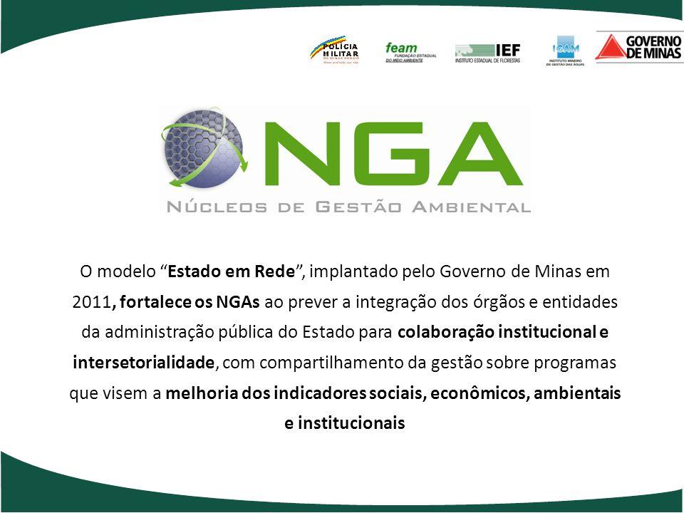 O modelo Estado em Rede , implantado pelo Governo de Minas em 2011, fortalece os NGAs ao prever a integração dos órgãos e entidades da administração pública do Estado para colaboração institucional e intersetorialidade, com compartilhamento da gestão sobre programas que visem a melhoria dos indicadores sociais, econômicos, ambientais e institucionais