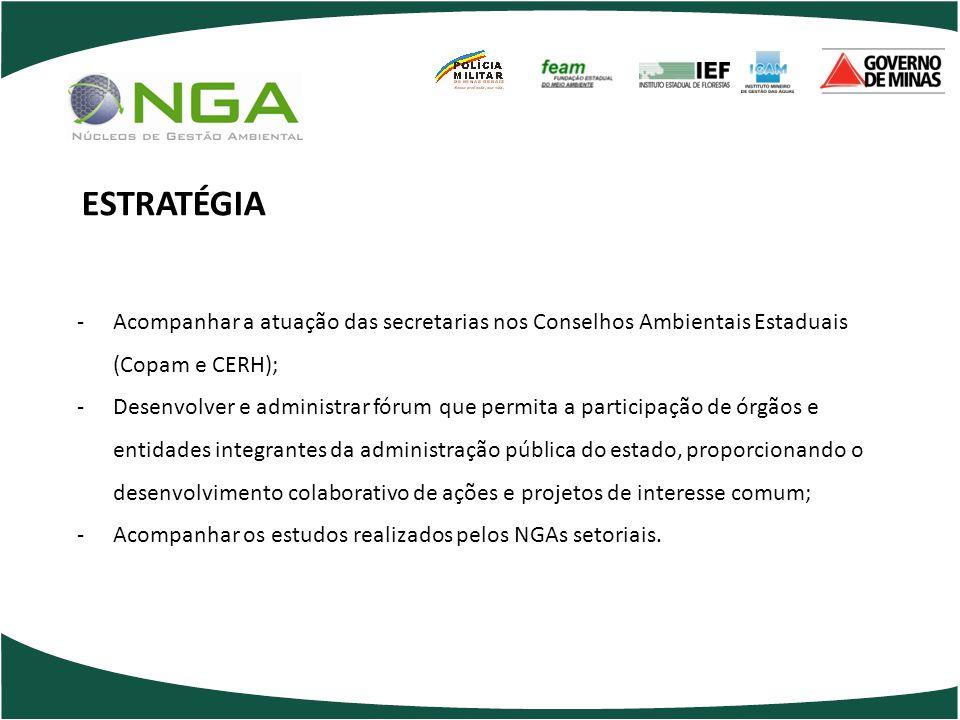 ESTRATÉGIA Acompanhar a atuação das secretarias nos Conselhos Ambientais Estaduais (Copam e CERH);