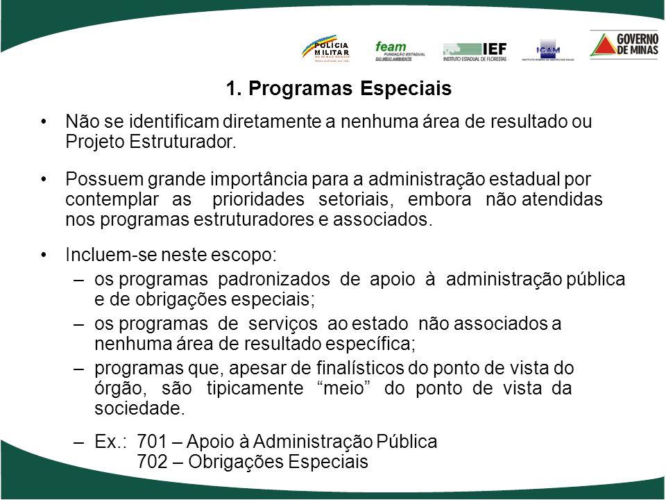 1. Programas Especiais Não se identificam diretamente a nenhuma área de resultado ou Projeto Estruturador.
