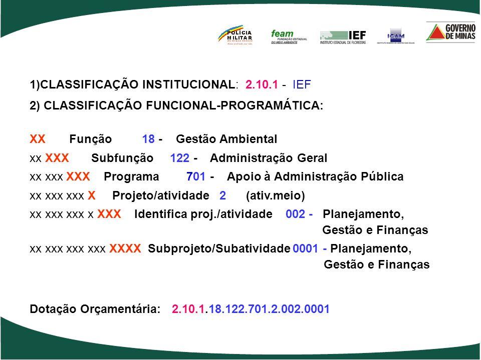 1)CLASSIFICAÇÃO INSTITUCIONAL: 2.10.1 - IEF